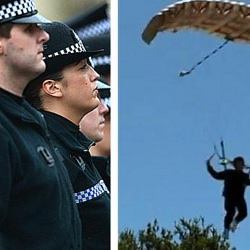 Picture Of Mystery man parachutes into Glasgow city centre at midnight - and then vanishes